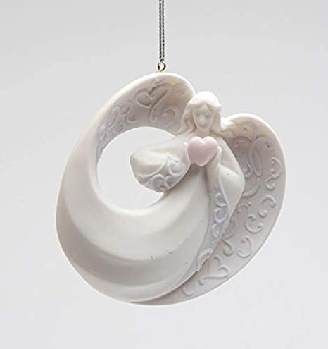 Amazon Com Cosmos Gifts Inspirational Angel Of Love Holding Pink Heart Christmas Tree Hanging Ornament 3 3 8 Home Kitchen