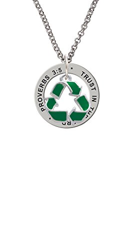 Silvertone Green Enamel Recycle Symbol - Proverbs 3:5 Affirmation Ring (Recycle Symbol Circle)