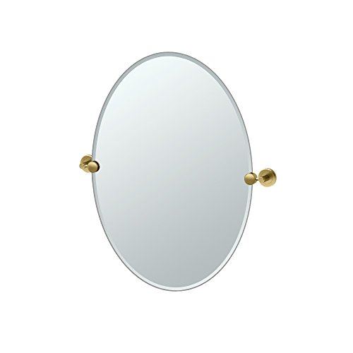 Gatco 4269 Latitude II Oval Mirror, Matte Brass (Polished Gold Escutcheon)