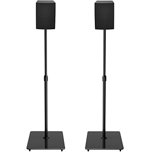 PERLESMITH Universal Speaker Stands with Tempered Glass Base - 21