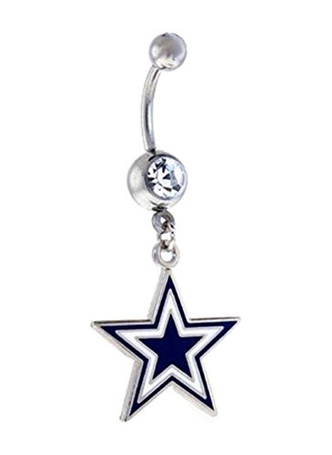 DALLAS COWBOYS FOOTBALL STAR TEAM Clear Navel Belly Button Ring Body Jewelry Piercing 14 Gauge