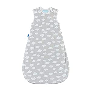 Tommee Tippee Grobag Baby Cotton Sleeping Bag, Sleep Sack - 1.0 Tog for 69-74 Degree F - Fluffy Clouds - Medium Size, 6-18 months, Grey, 6-18 Months