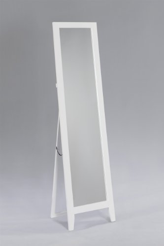 Kings Brand White Finish Wood Frame Floor Standing Mirror