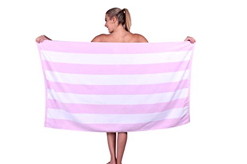 (Puffy Cotton Premium Luxury Cabana Striped Terry Velour Beach Towel, 100% Cotton, Super Soft and Absorbent (1, Pink))