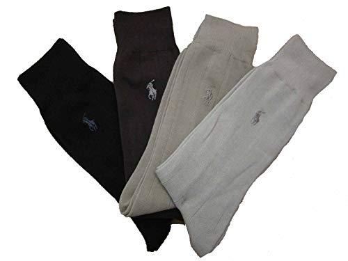 Mens Polo Ralph Lauren Casual Dress Socks 4 Pair (Tan/Brown/Khaki/Black) ()