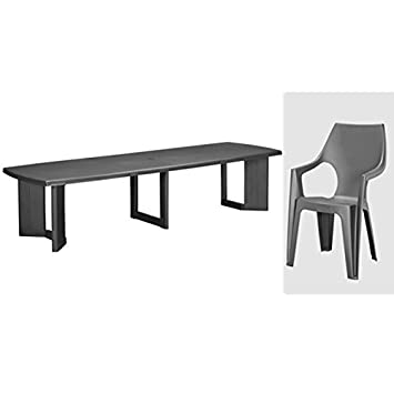 ALLIBERT new york 320 table anthracite & dante (4x) chaise de jardin ...