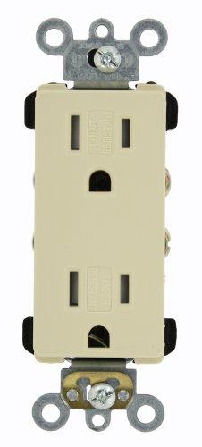 - Leviton TDR15-I 15 Amp, 125 Volt, Decora Plus Duplex Receptacle, Straight Blade, Tamper Resistant, Commercial Grade, Self Grounding, Ivory