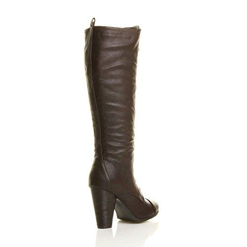 stringhe stivali alto taglia goticoa militari tacco Marrone ginocchio Donna blocco 8qYvwx5nt