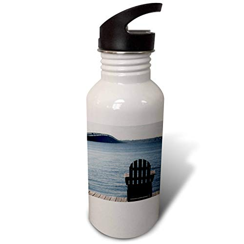 (3dRose Stamp City - Landscape - Relax on an Adirondack Chair on The Dock Overlooking The Barnegat Bay. - Flip Straw 21oz Water Bottle (wb_295244_2))