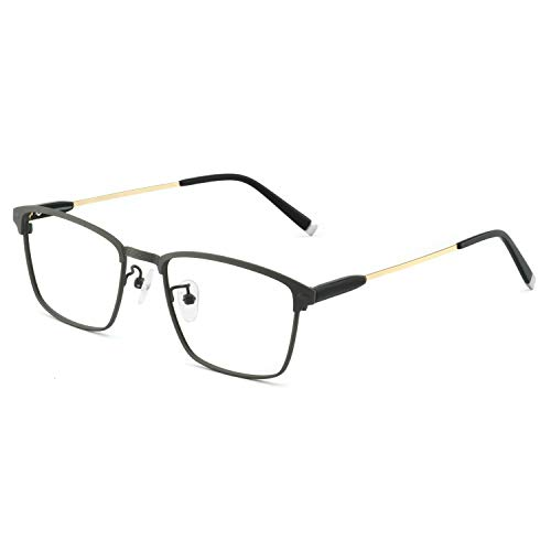 OCCI CHIARI Mens Rectangle Eyewear Full-Rim Metal Non-Prescription Clear Optical Glasses (Gray 50 18 ()