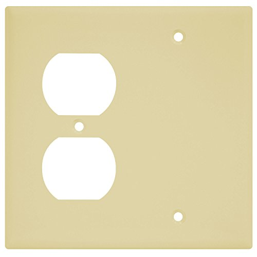 Enerlites Combination Wall Plate (Blank Device/Duplex Outlet), Standard Size 2-Gang, Polycarbonate Thermoplastic, Ivory 880121-I (Nylon Outlet Covers Duplex)