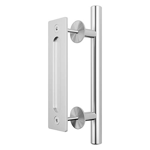 ELICIT 12 Inch, Pull and Flush Sliding Barn Door Handle Set for Gate Kitchen Furniture Cabinet Closet Drawer, Modern Style, Stainless ()