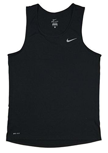 Nike Mens Dri-Fit Miler Contour Singlet Running Tank Top Shirt Black