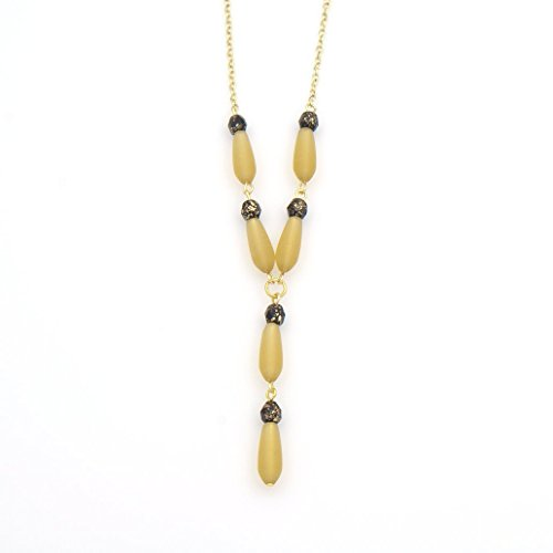 Desert Gold Recycled Glass Teardrop Pendant Necklace - Speckled Jet Glass Beads, Cable Chain, 2.5 & (Gold Sand Glass Pendants)