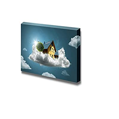 Canvas Prints Wall Art - Dream House/House on Clouds | Modern Wall Decor/Home Art Stretched Gallery Wraps Giclee Print & Wood Framed. Ready to Hang - 12