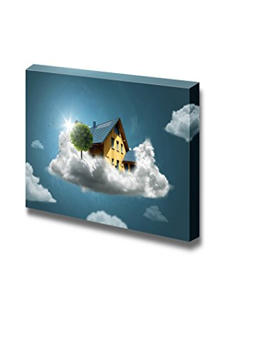 Dream House House on Clouds Wall Decor Wood Framed