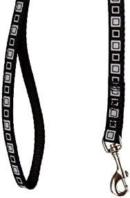 Sandia Pet Products Black//White Squares on Black Adjustable Fashion Ferret Collar with Bell and Matching 4 Ft Leash