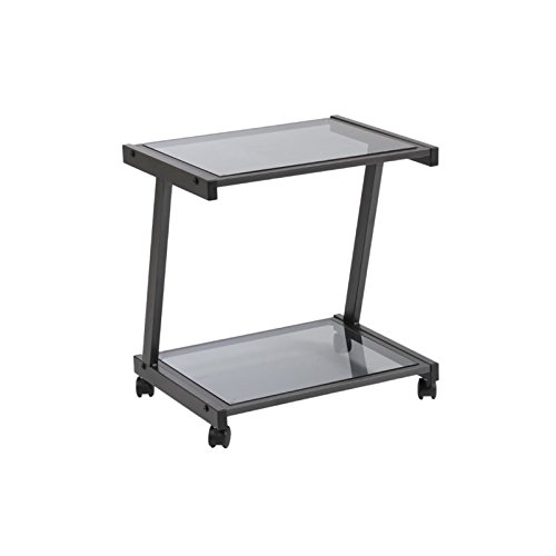 Euro Style L Smoked Glass Top Mobile Printer Cart, Graphite Black Steel (Graphite Powder Epoxy)
