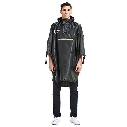 Sttech1 Men's Women's Raincoat Portable Reusable Rain Poncho,Waterproof, Lightweight, Belted Hooded Military Waterproof Mountaineering Raincoat (Black) ()