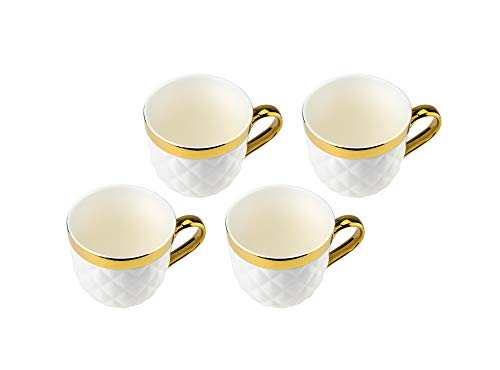 Collection Porcelain Teacup - Yedi YCC692, 24 Oz Ceramic Mugs with Gold Design, Fine Porcelain Tea Cups, Quilted Collection Cups, Gift Idea, Set of 4