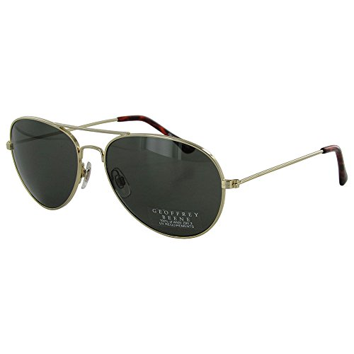 GEOFFREY BEENE Aviator Sunglasses with Gold-tone Metal Frames & Smoke Green Lenses. Model: 2157 - Brand Glass Sun