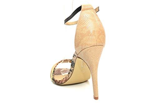 F11241Be - Escarpins à talons hauts - bride - effet serpent - femme - sable
