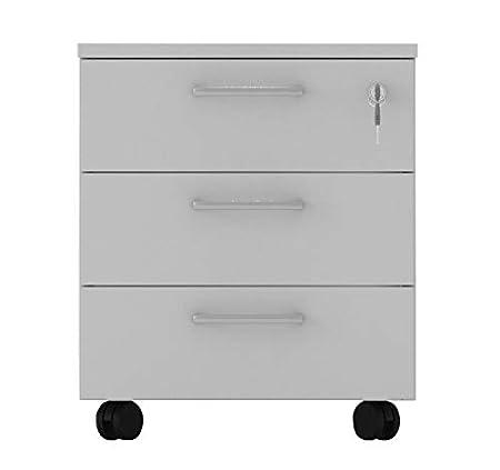 cajonera de oficina con ruedas, montaje fácil, L 42 XP 56 XH 51 cm Color blanco O Gris, color gris