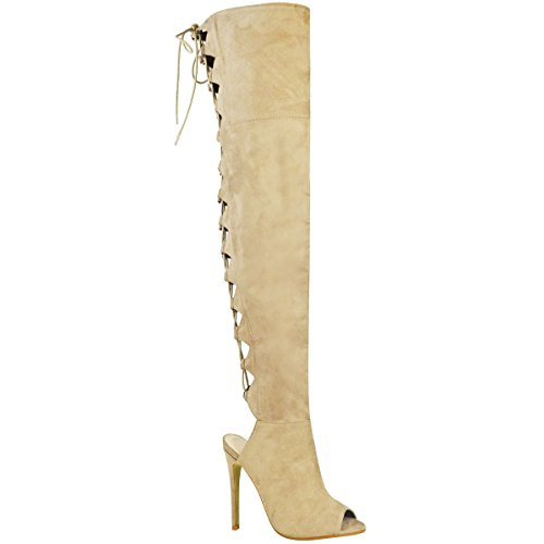 High Knee Boots Tie Faux Cream Over Fashion Thirsty Heels Womens Thigh Up Light Sexy Ladies Suede The Size Lace Shoes qCg8zxw