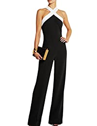 Women's Elegant Strapless Halter Long Pants Jumpsuits Rompers