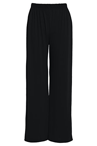 - GUBA® New Women's Ladies Baggy Plain Palazzo Trouser Wide Leg Flared Trouser Pants Size 8-26 (Black, XL/XXL (UK 20-22))