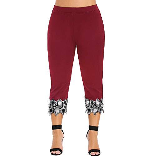 Farmerl 2019 Women Leggings Elastic Waist Plus Size High Waisted Applique Pants