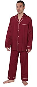 Men's Solid Woven Long Sleeve Long Leg Pajama Set