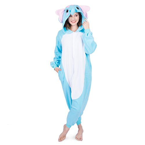 Emolly Fashion Adult Elephant Animal Onesie Costume Pajamas for Adults and Teens (Medium, Blue)