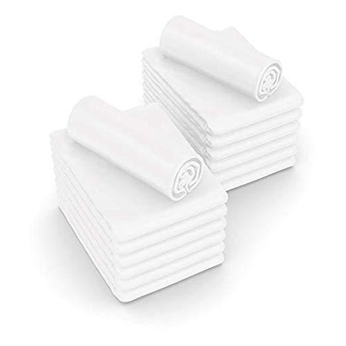 JMR Flat Draw Bed Sheets Muslin T130 Cotton Blend (54x90, white 12 piece) by JMR