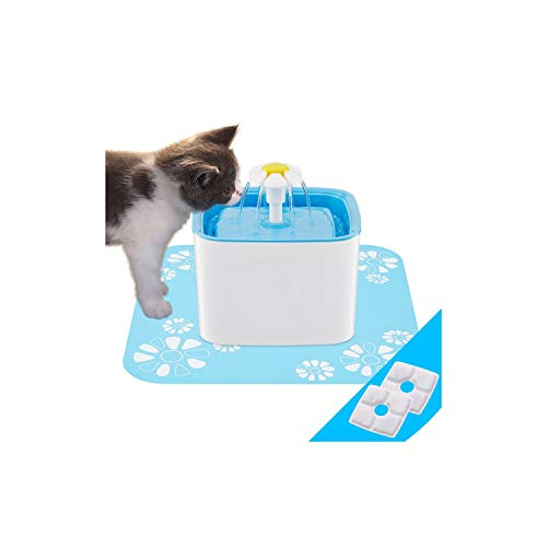 2.5L Automatic Cat Water Fountain Electric Water Fountain Dog Cat Pet Drinker Bowl Pet Blue Drinking Fountain,Us Plug with Mat