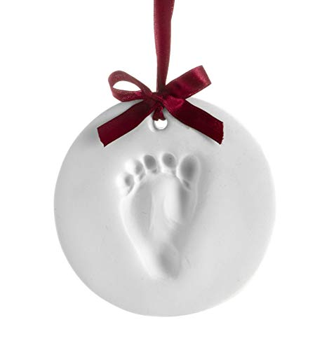 Pearhead Babyprints Baby's First Christmas Handprint or Footprint Holiday Ornament Kit, Easy No-Bake Mold Makes a Perfect Christmas Craft for Baby's First Holiday (Christmas Craft Ideas For Babies To Make)