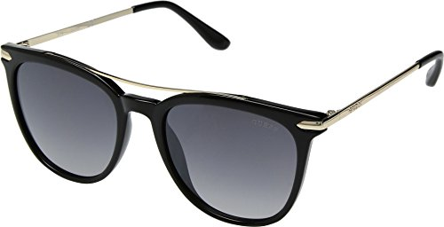 (GUESS Womens GF6062 Shiny Black With Gold/Smoke Gradient With Light Flash Lens One Size)
