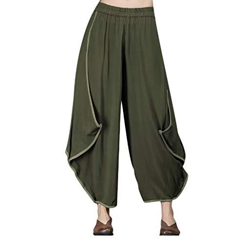(AOJIAN Yoga Pants Buttery Soft Loose Wide Leg Ruffle Trousers Jogger Capri Workout Running Sports Leggings for Women Green)