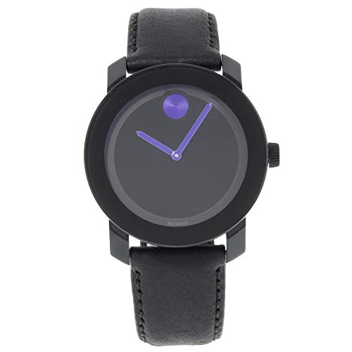 M0VADO BOLD 3600479 BLACK LEATHER STRAP BLACK PURPLE DIAL ACCENTS UNISEX WATCH -  Movado