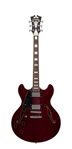 D'Angelico Premier DC Semi-Hollow Lefty Electric Guitar w/ Stop-Bar Tailpiece – Trans Wine