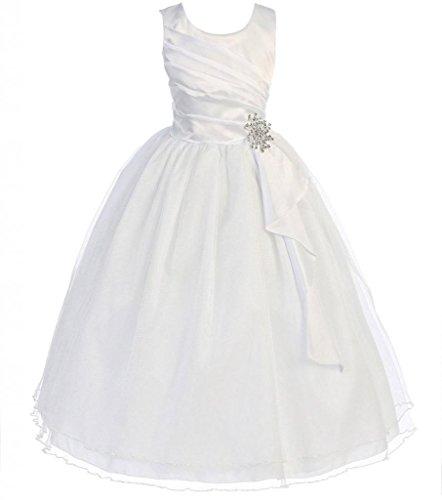 AkiDress Satin & Tulle Sleeveless Flower Girl Dress with Rhinestone Pendant White 4-14