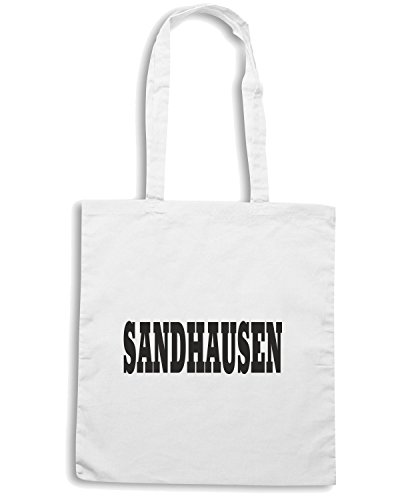 T-Shirtshock - Bolsa para la compra WC0796 SANDHAUSEN GERMANY CITY Blanco