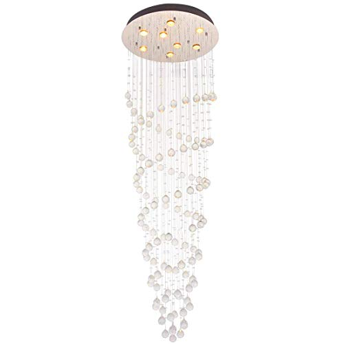 Eight Light Spiral - Modern Clear Crystal Round Spiral Raindrop Chandelier Lighting Flush Mount LED Ceiling Light Fixture Lamp Livingroom Dinning Room Bedroom Entryway Hallway 8 GU10 Bulbs Required H 71 in X D 24 in