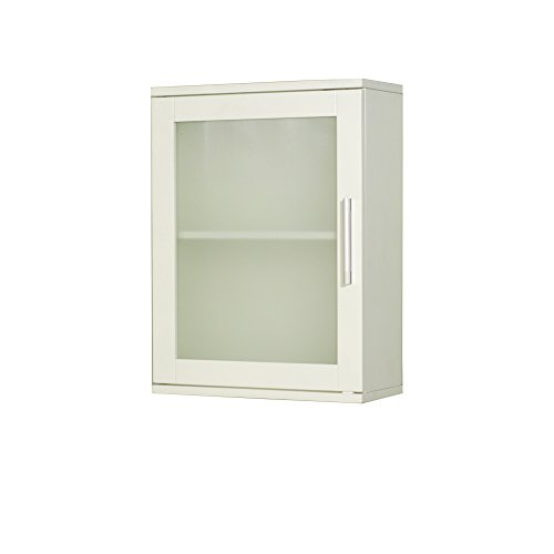 Target Marketing Systems 50028WHT Frosted Pane Wall Cabinet Antique White