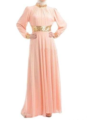Coolred Vita Montaggio Cucitura donne Musulmano In Rosa Vestito Sottile Pendolo Grande Maxi rrFq87