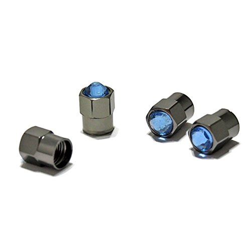 - Atonix Cool Blue Bling Crystal Rhinestone Gunmetal Plating Aluminum Alloy Tire Stem Valve Cap