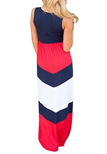 lungo spiaggia vestito figlia da stitching OMZIN casual festa red Blue e vestito madre Maxi Cqwxxnv0S