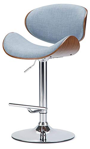 Simpli Home AXCMARN-DMB Marana Mid Century Modern Bentwood Adjustable Height Gas Lift Bar Stool in Denim Blue Linen Look…