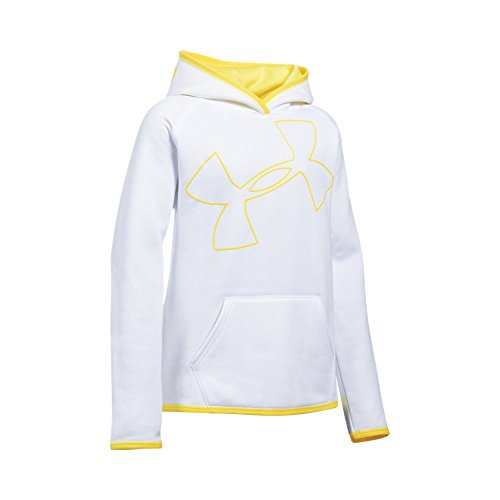 Under Armour Nylon Pullover (Under Armour Girls' Armour Fleece Jumbo Logo Hoodie, White/Tokyo Lemon, Youth Large)