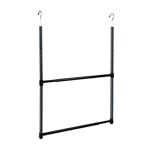 Oceanstar 2-Tier Portable Adjustable Closet Hanger Rod, Black (Hang Double Closet)